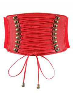 Rivets Faux Leather Elastic Wide Belt - Red