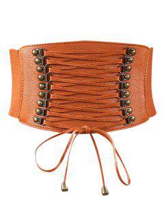 Rivets Faux Leather Elastic Wide Belt - Light Brown