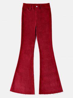 High Waist Frayed Hem Bell Pants - Cherry Red M