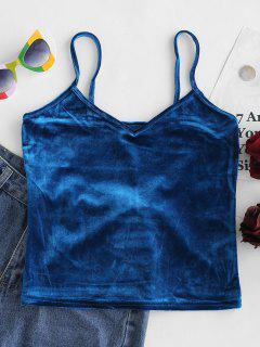 Velvet V Neck Cami Crop Top - Cobalt Blue
