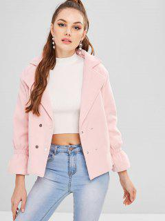 Drawstring Snap Button Wool Blend Coat - Light Pink Xl