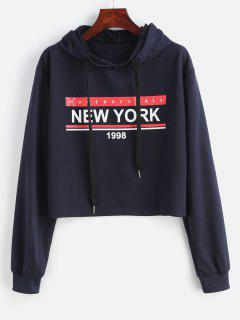 New York 1998 Graphic Cropped Hoodie - Cadetblue S