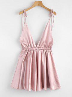 Robe Pyjama à Epaule Nouée En Satin Sans Dos - Rose PÂle S