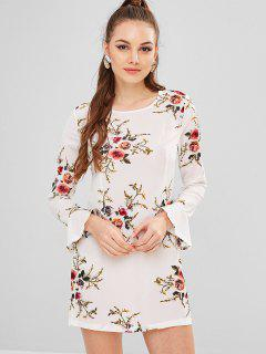 Flower Print Flare Sleeve Straight Dress - White L