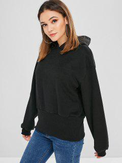 Casual Fleece Hooded Sweatshirt - Black M