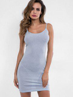 Spaghetti Strap Sparkly Bodycon Dress - Platinum M