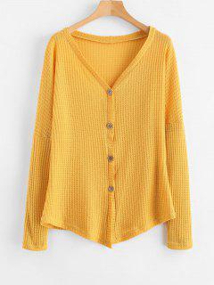 Plunge Drop Shoulder Tunic Knit Cardigan - Golden Brown Xl