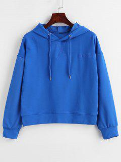 Embroidery Solid Color Hoodie - Blue L