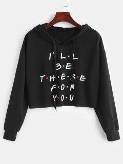 Colored Polka Dot Letter Graphic Cropped Hoodie - Black M