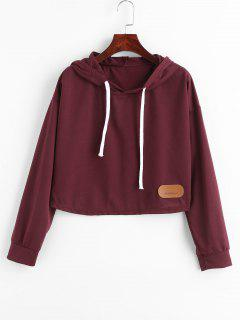 PU Patch Design Cropped Hoodie - Red Wine M