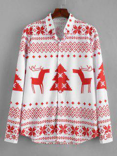 Langarm-Weihnachtsgeometrie-Muster-Shirt - Rot L