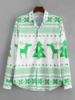 Long Sleeve Christmas Geometry Pattern Shirt - Yellow Green L