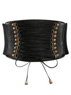 Rivets Faux Leather Elastic Wide Belt - Black
