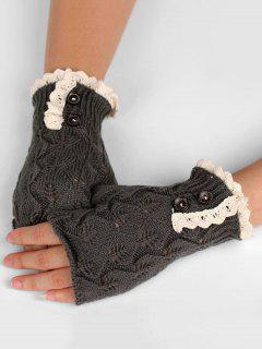 Winter Buttons Lace Fingerless Gloves - Carbon Gray