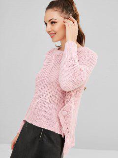 Knopf Verzierter Hoch Niedriger Klobiger Pullover - Schwein Rosa