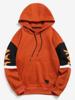 ZAFUL - Letter Stripe - Kontrast-Fleece-Hoodie - Halloween Orange 2xl
