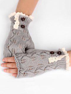 Winter Buttons Lace Fingerless Gloves - Light Gray