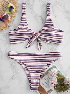 ZAFUL Striped Knot High Leg Bikini Set - Multi-a S