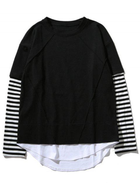 fancy Crew Neck Stripe Panel T-shirt - BLACK M Mobile
