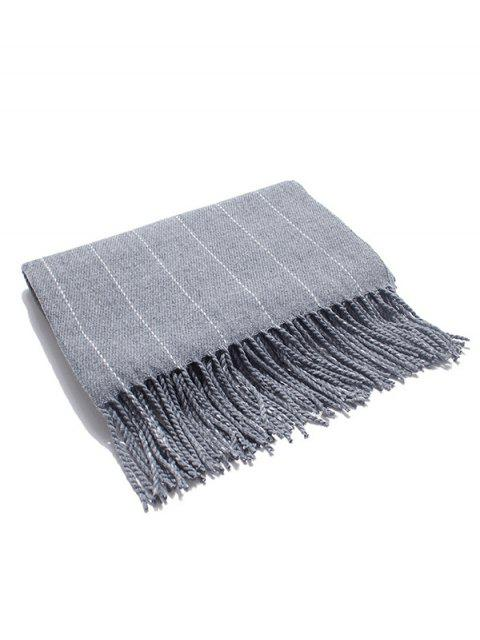 shop Retro Striped Fringed Long Scarf - GRAY CLOUD  Mobile