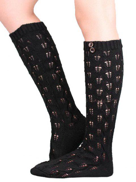 fashion Buttons Hollow Out Knitted Socks - BLACK  Mobile