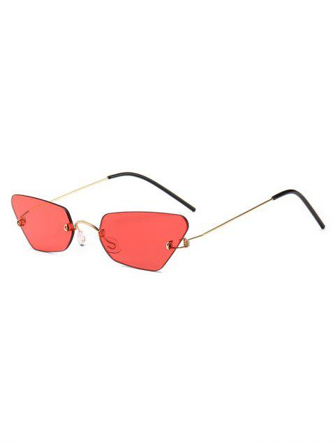 sale Irregular Frame Rimless Sunglasses - RED  Mobile