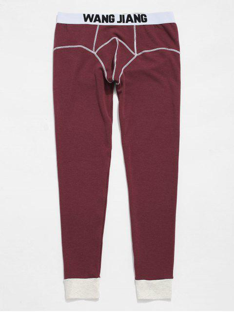 online Seam Contrast Pouch Thermal Leggings Pants - BLOOD RED XL Mobile