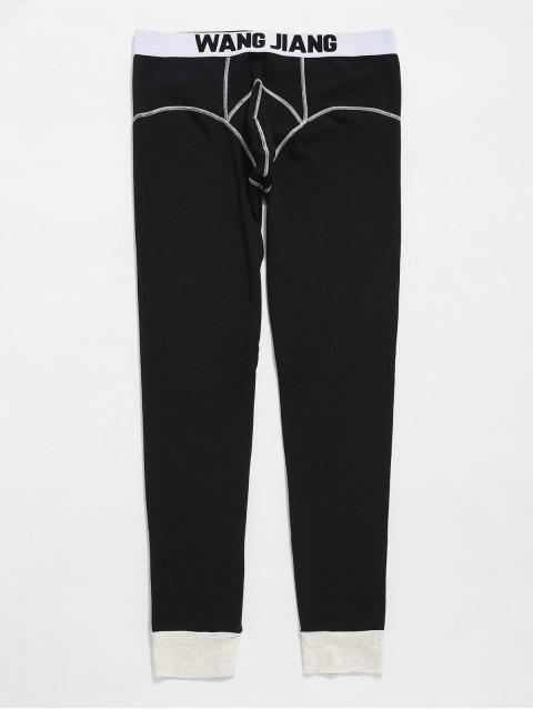 hot Seam Contrast Pouch Thermal Leggings Pants - BLACK L Mobile