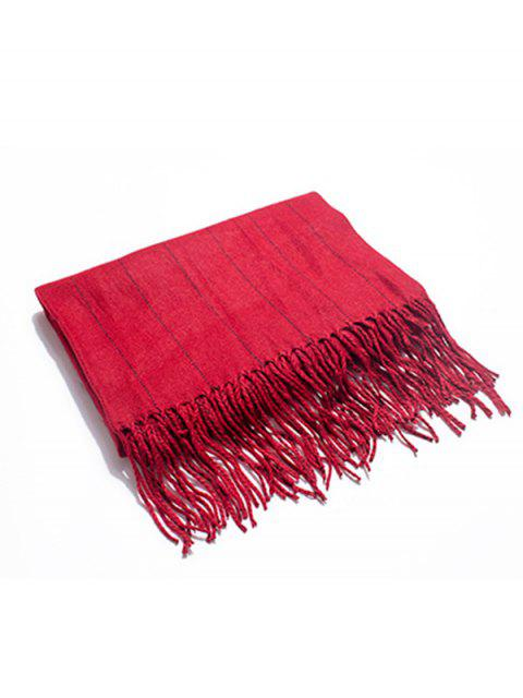 online Retro Striped Fringed Long Scarf - RED  Mobile