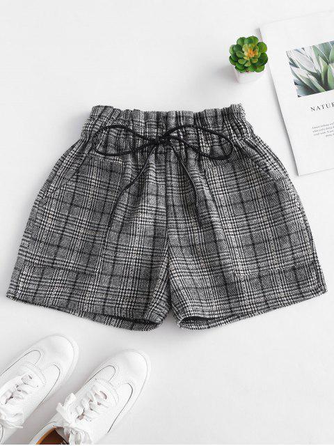Pantalones cortos a cuadros de cintura elástica - Multicolor S Mobile