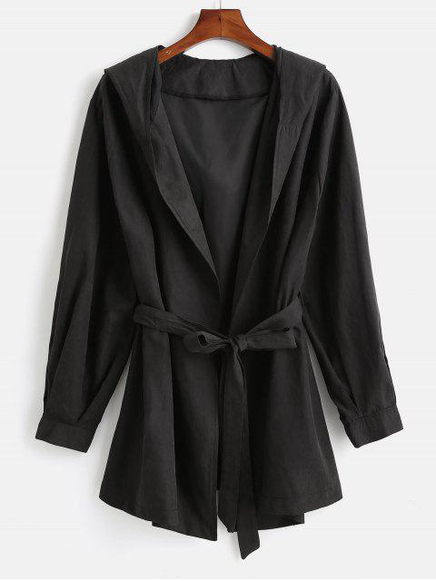 chic Hooded Plus Size Wrap Coat - BLACK L Mobile
