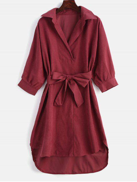 buy High Low Belted Shift Dress - RED M Mobile
