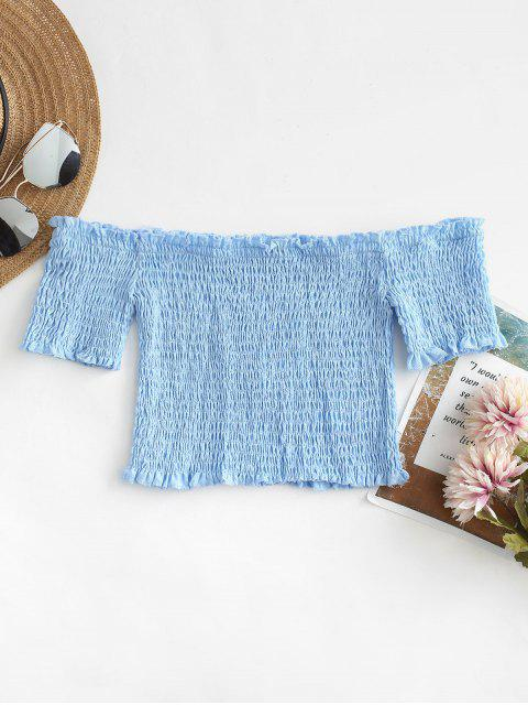 online Smocked Off The Shoulder Crop Top - DAY SKY BLUE L Mobile