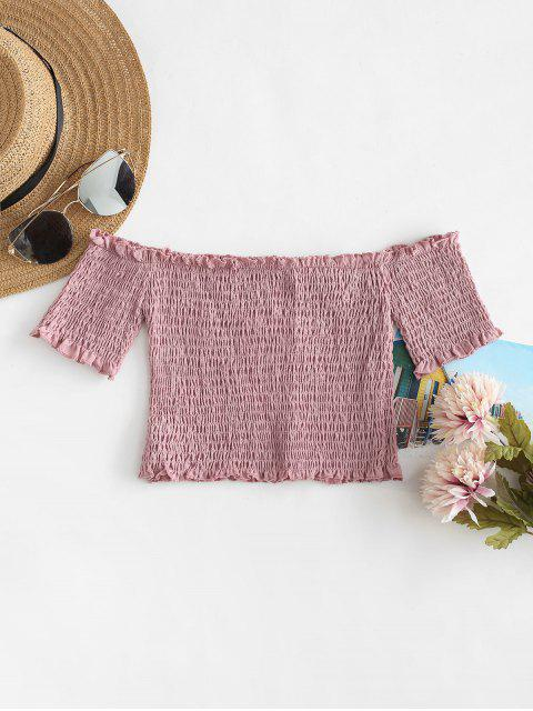 womens Smocked Off The Shoulder Crop Top - LIPSTICK PINK L Mobile