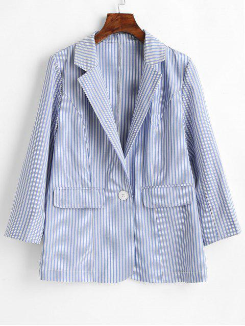 women Single Button Striped Blazer - PASTEL BLUE L Mobile