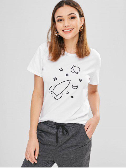 T-shirt en jersey à manches courtes - Blanc XL Mobile