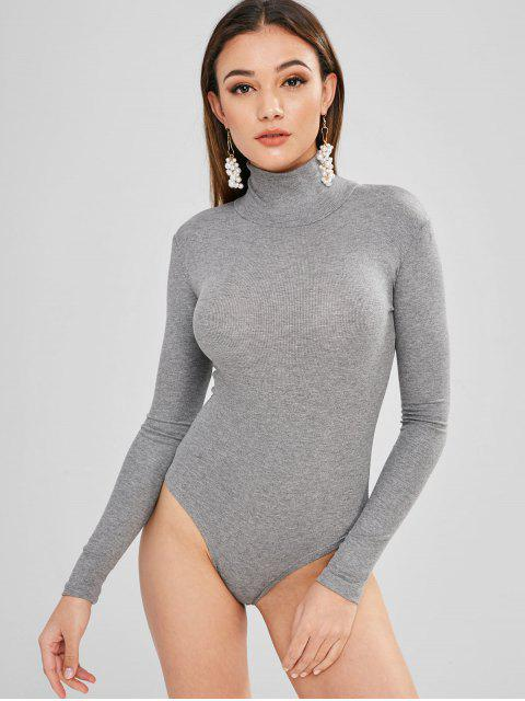 outfits Long Sleeves Mock Neck Bodysuit - GRAY ONE SIZE Mobile