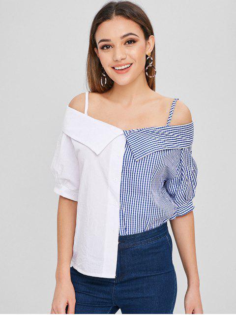 women's Spaghetti Strap Short Sleeve Blouse - MULTI S Mobile