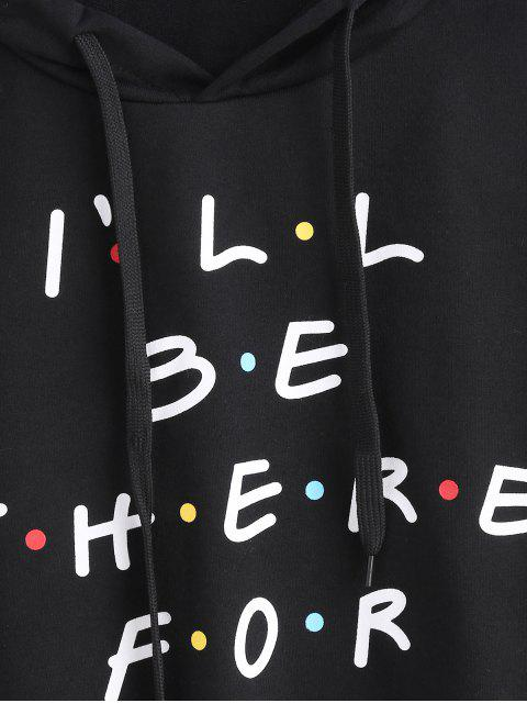 online Colored Polka Dot Letter Graphic Cropped Hoodie - BLACK M Mobile