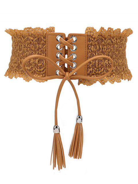 new Solid Color Lace Elastic Dress Belt - LIGHT BROWN  Mobile