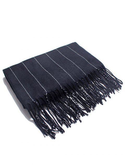 latest Retro Striped Fringed Long Scarf - BLACK  Mobile