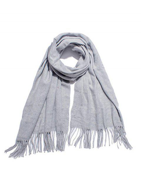 trendy Solid Color Soft Long Scarf - LIGHT GRAY  Mobile