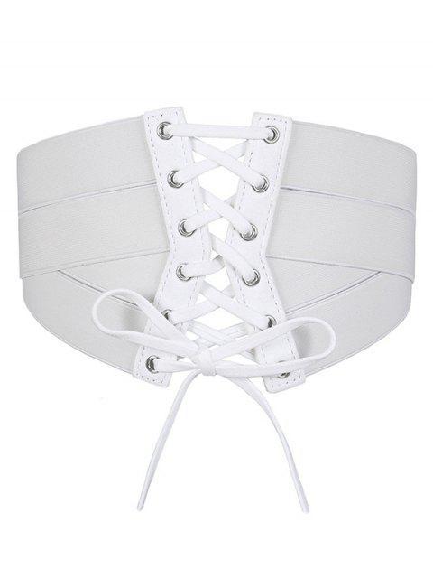 lady Solid Color Zipper Up Elastic Dress Belt - WHITE  Mobile