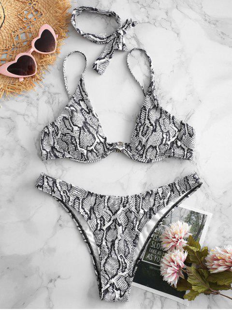 shop ZAFUL Snake Print High Cut Bikini Set - MULTI-A L Mobile