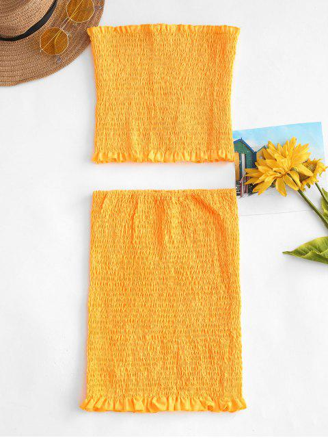 affordable Smocked Bandeau Top Tube Skirt Two Piece Set - BRIGHT YELLOW S Mobile