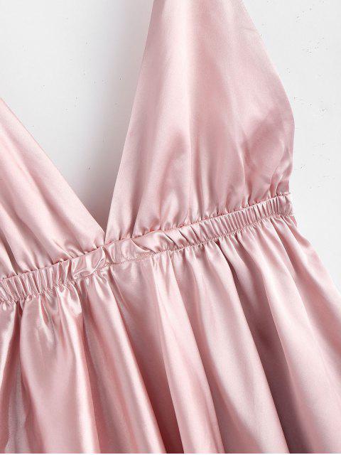 unique Backless Satin Tie Shoulder Pajama Dress - PINK S Mobile