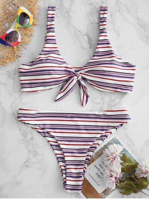 chic ZAFUL Striped Knot High Leg Bikini Set - MULTI-A M Mobile