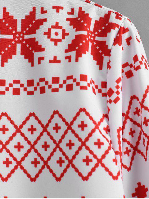 Camicia A Maniche Lunghe Con Motivo Geometrico Di Natale - Rosso M Mobile
