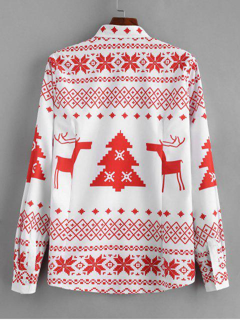 fancy Long Sleeve Christmas Geometry Pattern Shirt - RED XL Mobile