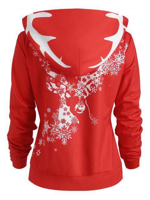 Christmas Snowflake Print Pullover Hoodie - 紅 L Mobile